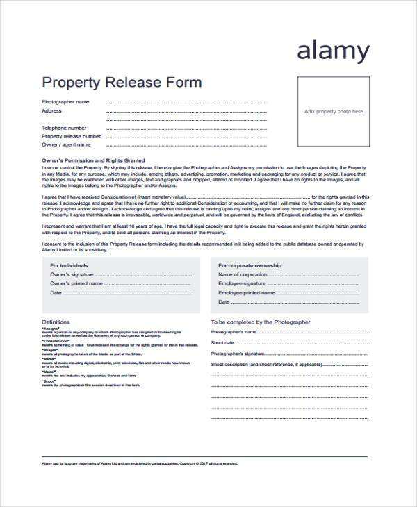 8 Property Release Form Samples Free Sample Example Format – Property Release Form
