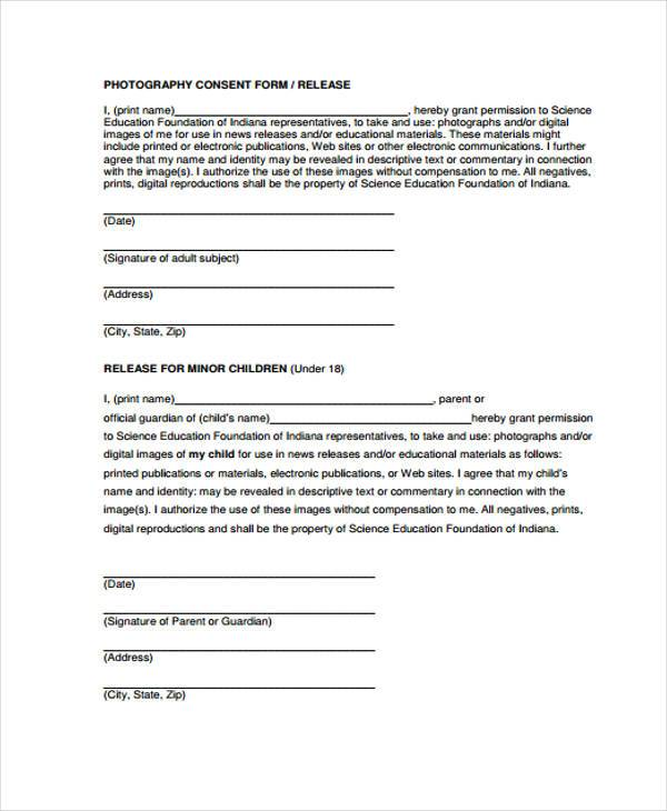 photography release consent form
