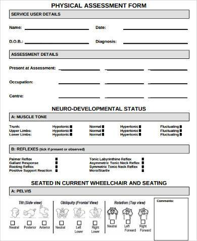 physical assessment form example