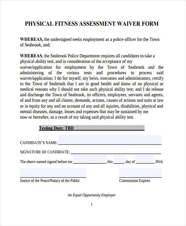 physical fitness assessment form2
