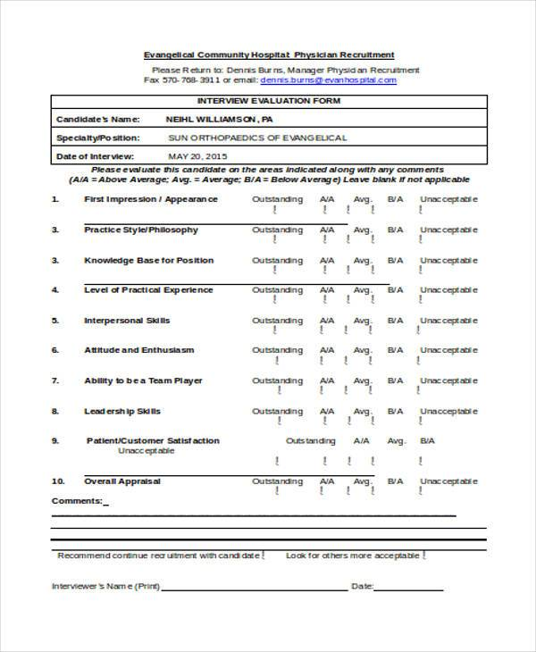 ... Interview Evaluation Forms