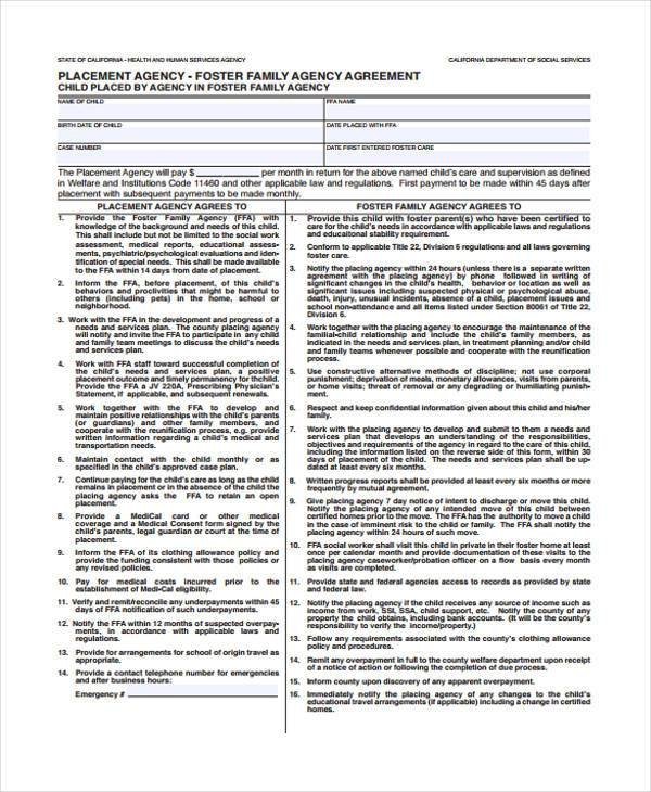 placement agency agreement form