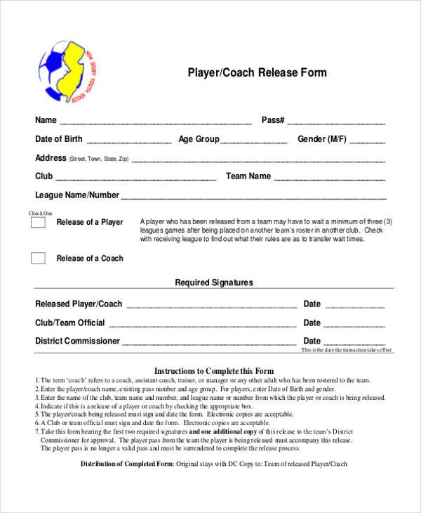 player coach release form
