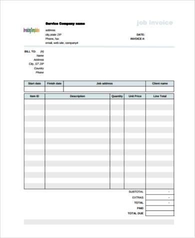 plumbing job invoice form