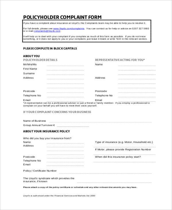 policyholder financial complaint form