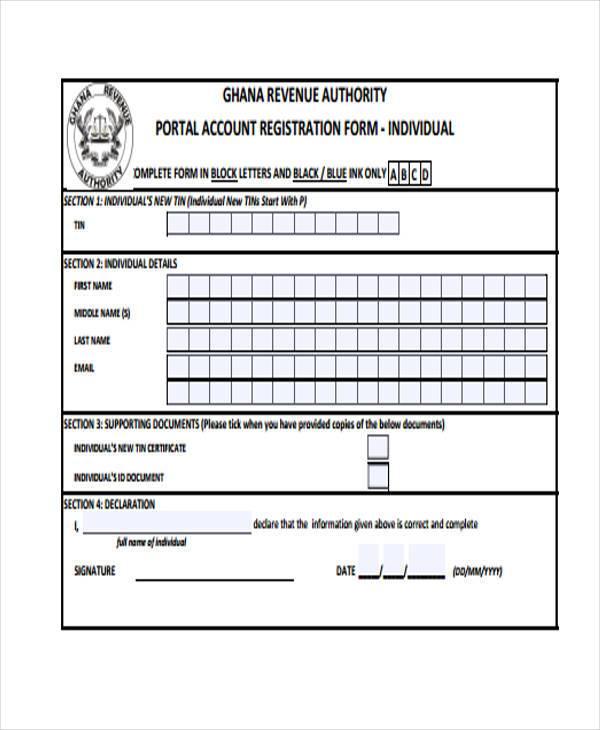 portal tin registration form example