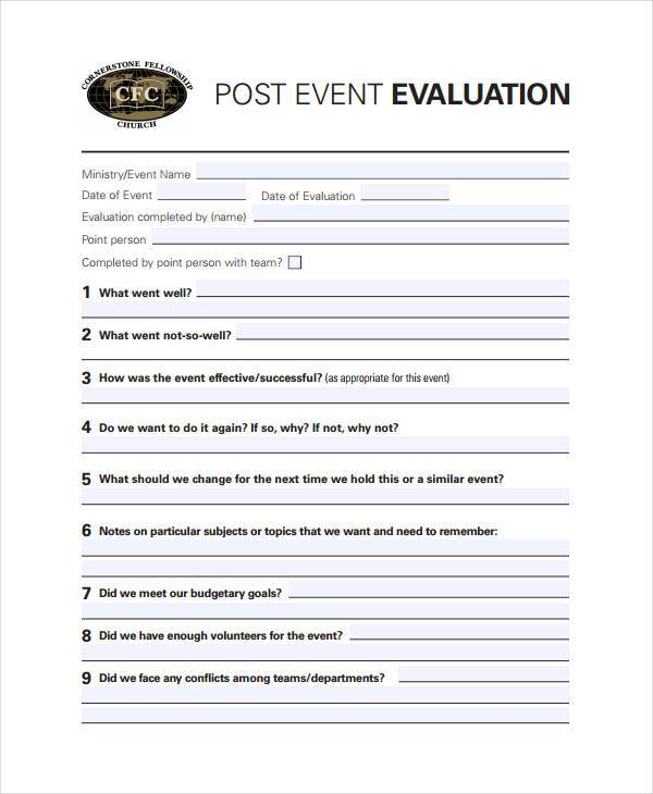 7 Activity Evaluation Form Samples Free Sample Example Format – Sample Evaluation
