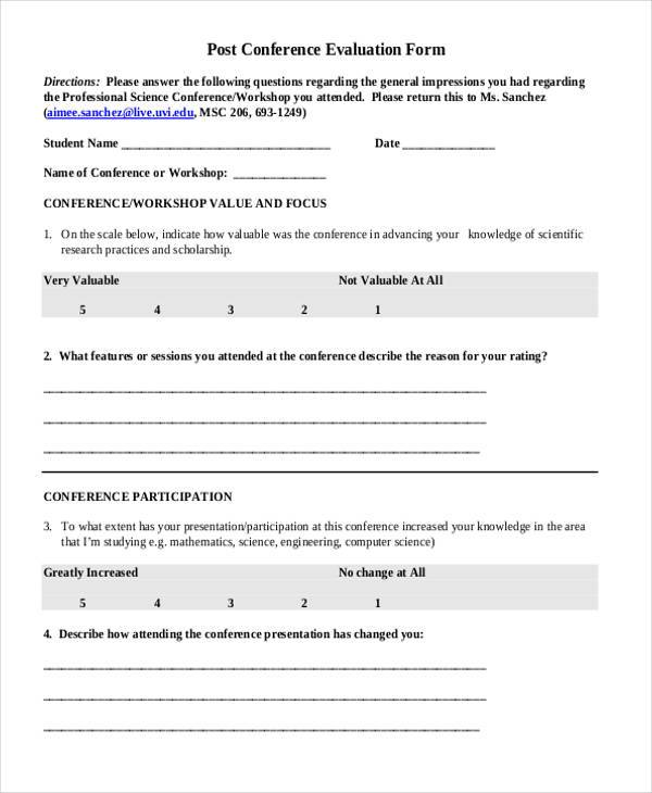 7 conference evaluation form samples free sample for Conference survey template