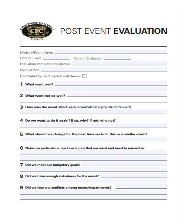Event Evaluation Form Samples  Free Sample Example Format Download