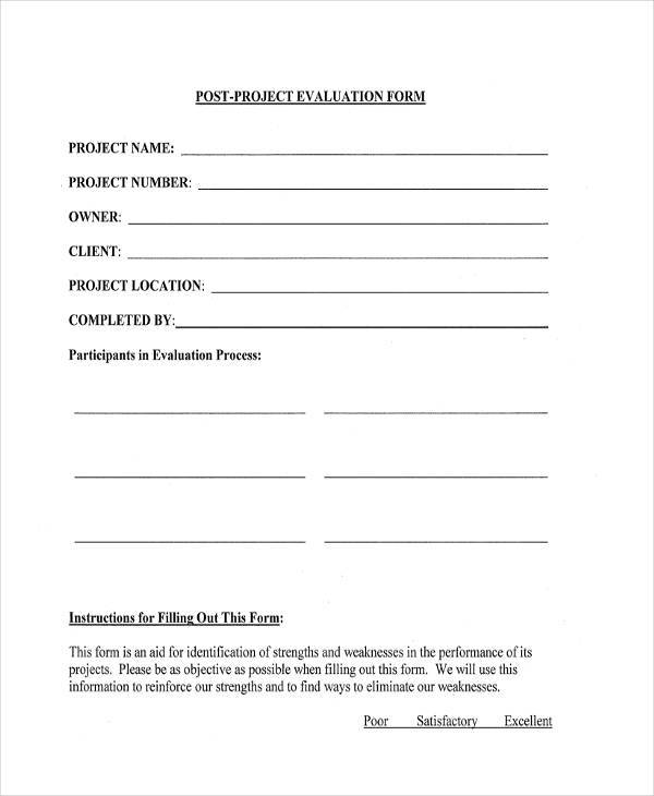 post project evaluation form