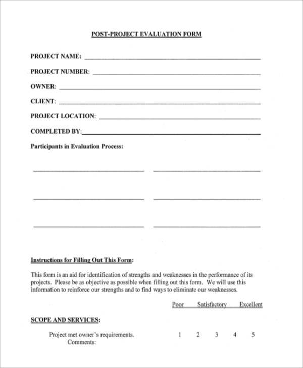 ... Project Feedback Form Template By Doc 758442 Project Evaluation Form  Forms 83 Related ...