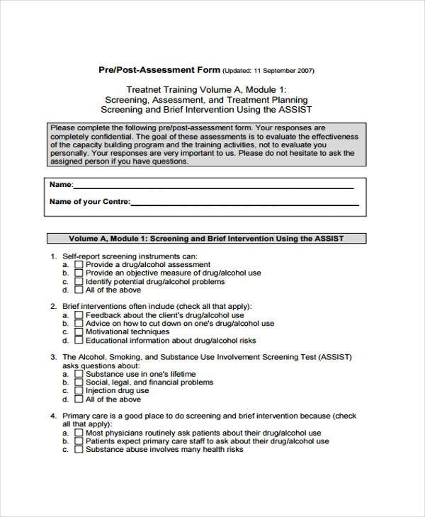 Training Assessment Form Samples  Free Sample Example Format