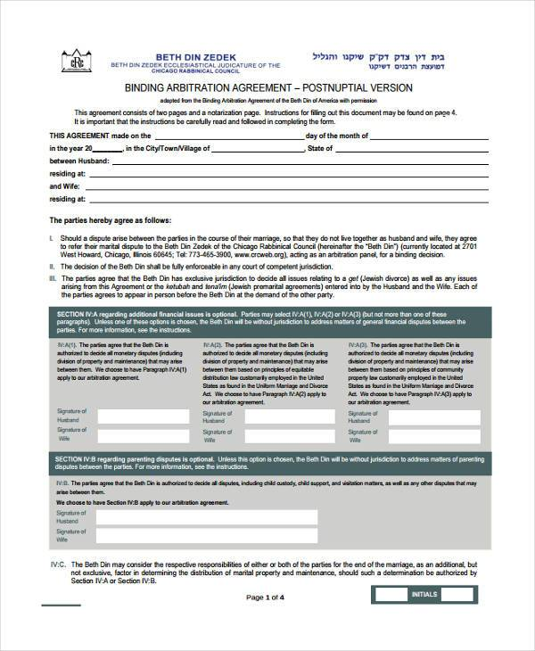 Sample Postnuptial Agreement Forms 7 Free Documents In