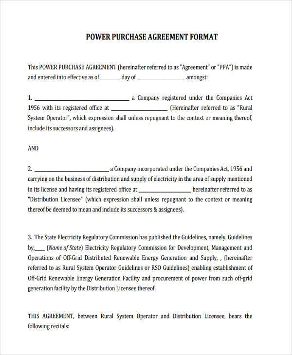 7 Power Purchase Agreement Form Samples Free Sample Example