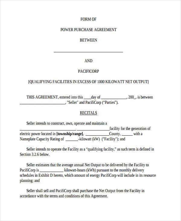 7 Power Purchase Agreement Form Samples Free Sample Example – Purchase Agreement Sample