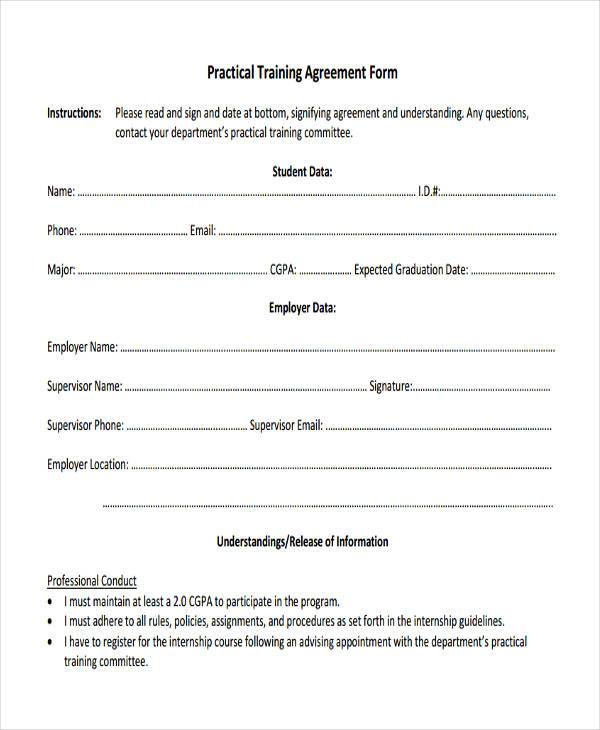 8+ Training Agreement Form Samples - Free Sample, Example Format ...