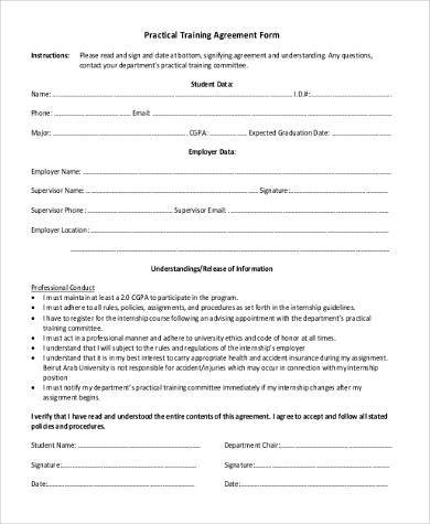practical training agreement form