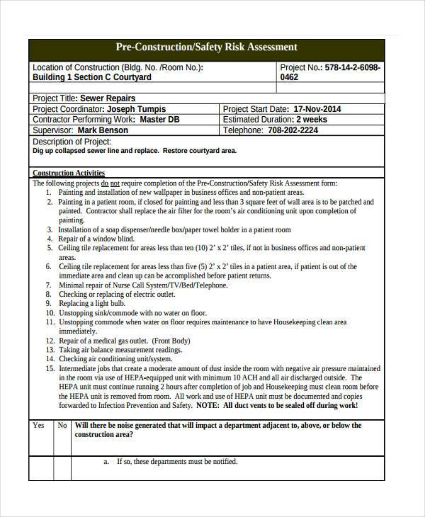 Pre Construction Risk Assessment Form