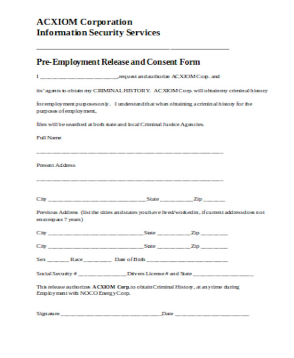 pre employment release and consent form
