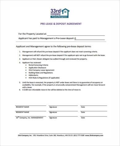 Sample Lease Deposit Forms - 8+ Free Documents in Word, PDF