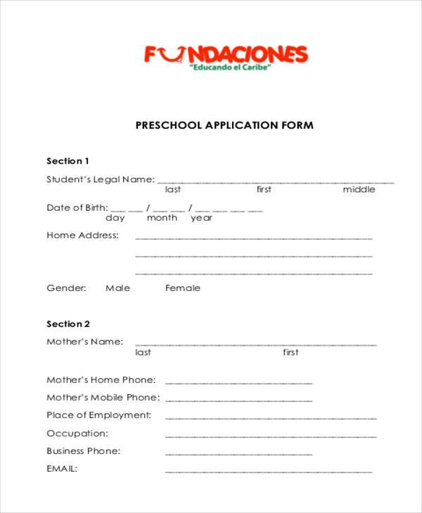pre school application form