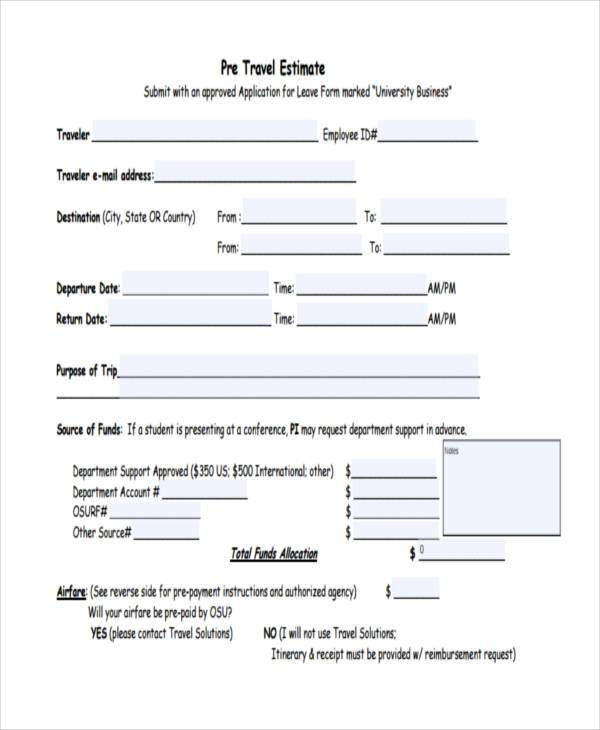 pre travel registration form example