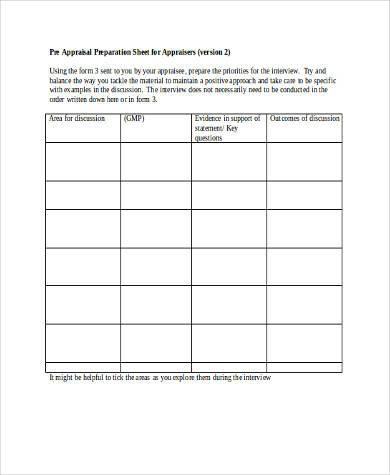 pre appraisal preparation form