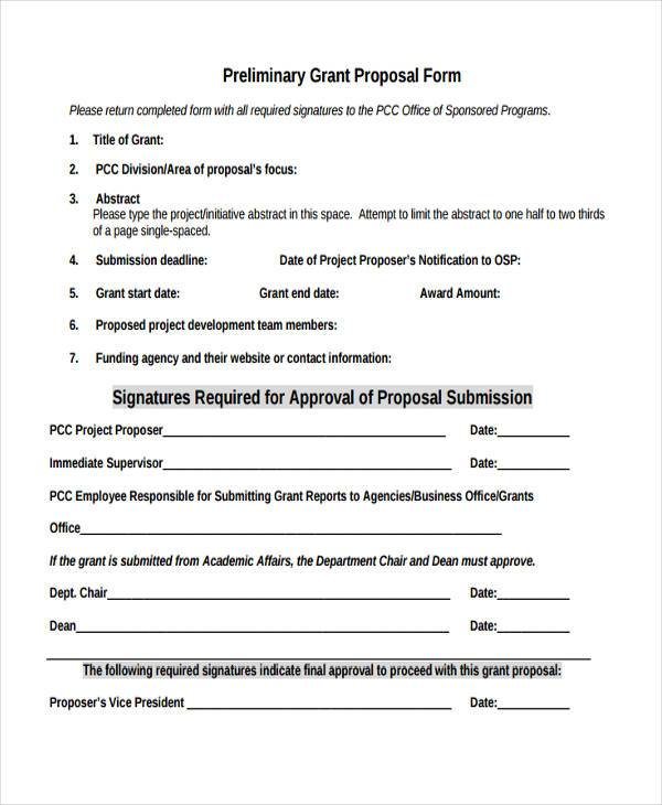 preliminary grant proposal form