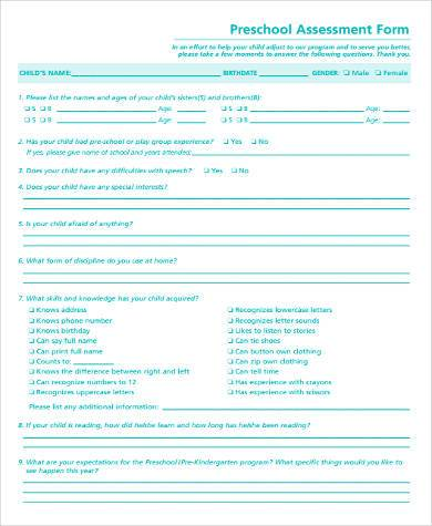 Sample Preschool Assessment Forms   Free Documents In Word Pdf
