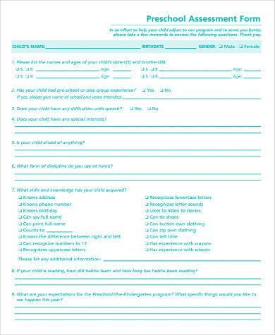 preschool assessment form in pdf