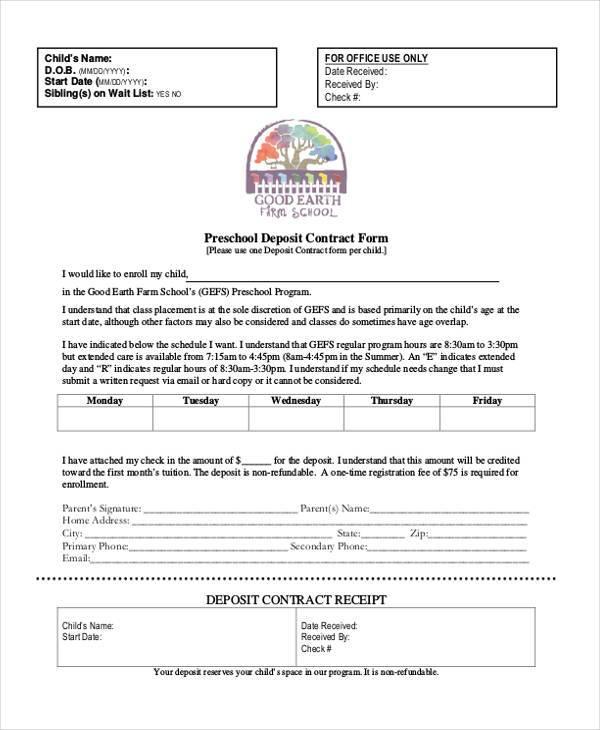 preschool deposit contract form
