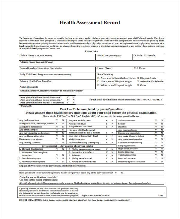 7+ Preschool Assessment Form Samples - Free Sample, Example Format ...