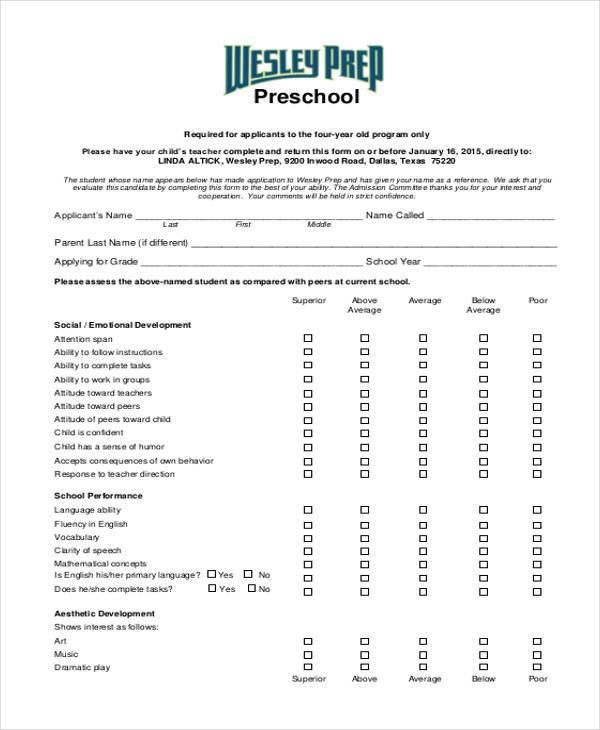 preschool teacher appraisal form1