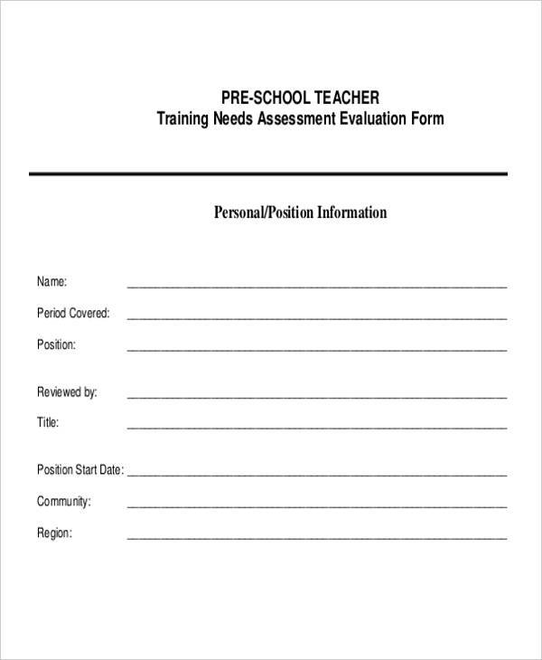 Preschool Teacher Evaluation Form  BesikEightyCo