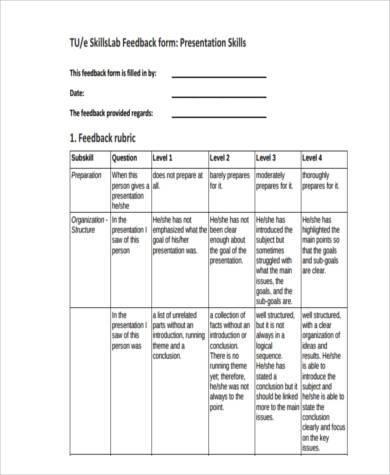 presentation skills feedback form example