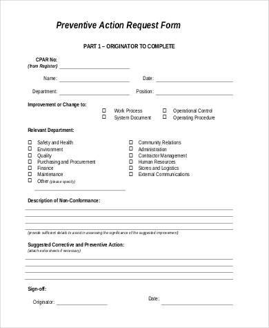 preventive action request form