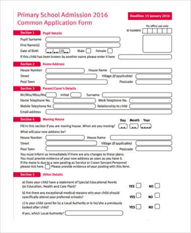primary school application form sample