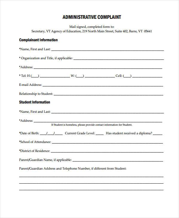 printable administrative complaint form