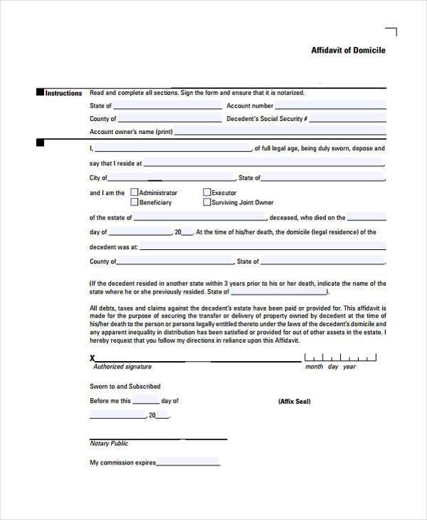 Sample Affidavit of Domicile Forms 8 Free Documents in Word PDF – Printable Affidavit Form