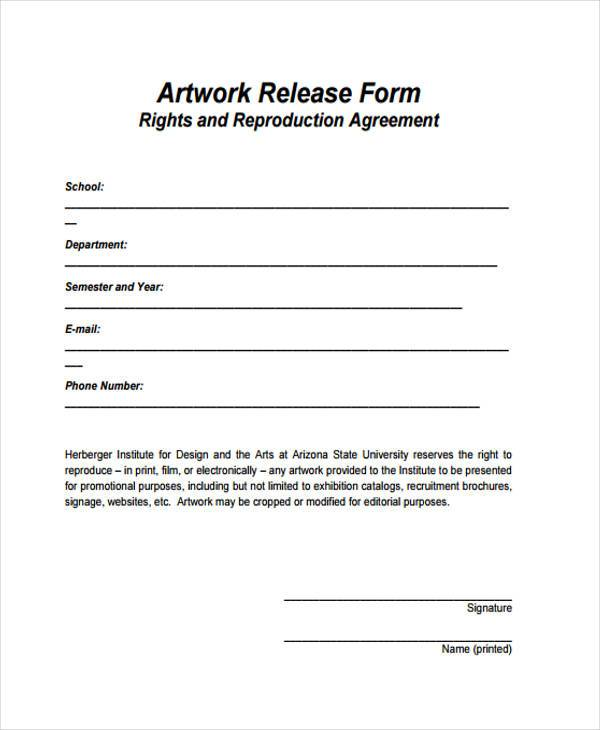 Sample Artwork Release Forms   Free Documents In Word Pdf