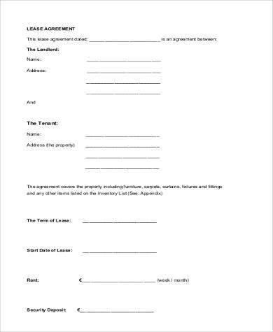 Blank Lease Agreement  WowcircleTk