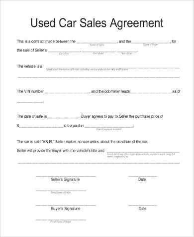 Printable Purchase Agreement Template Examples