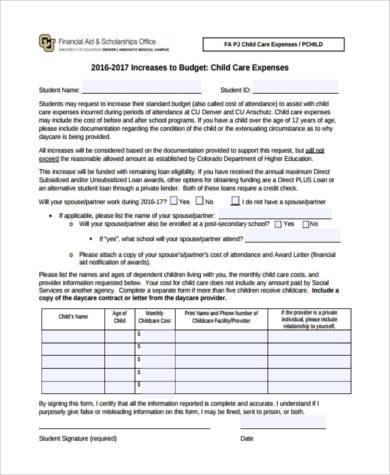 printable child care budget form