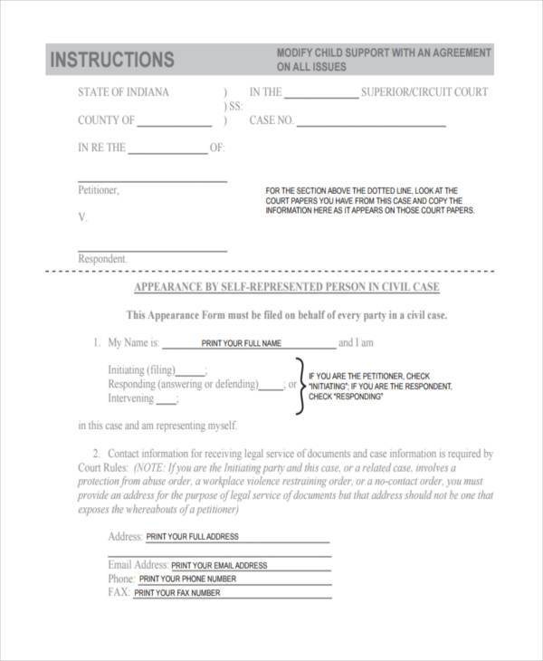 Sample Child Support Agreement Forms   Free Documents In Word Pdf
