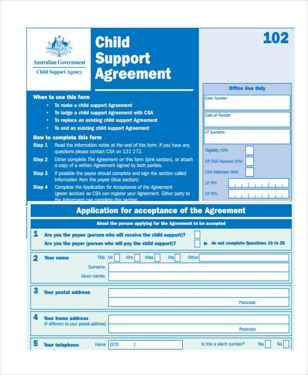 printable child support agreement form1