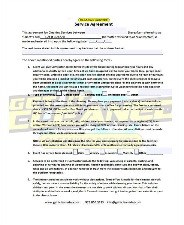 Sample Cleaning Contract Forms 7 Free Documents in Word PDF – Cleaning Contract Template