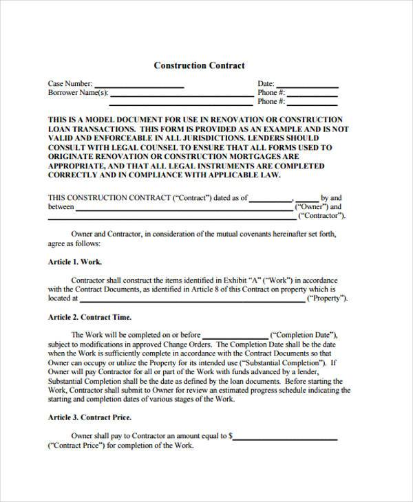 printable construction contract form