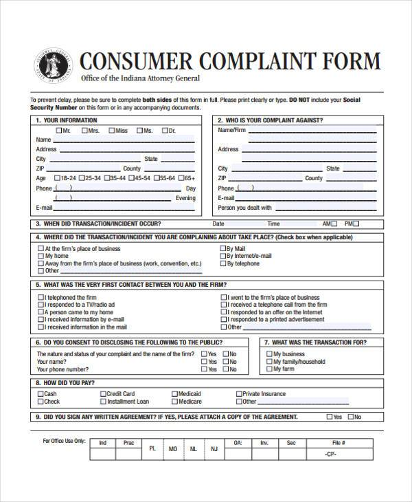 Sample Consumer Complaint Forms   Free Documents In Word Pdf