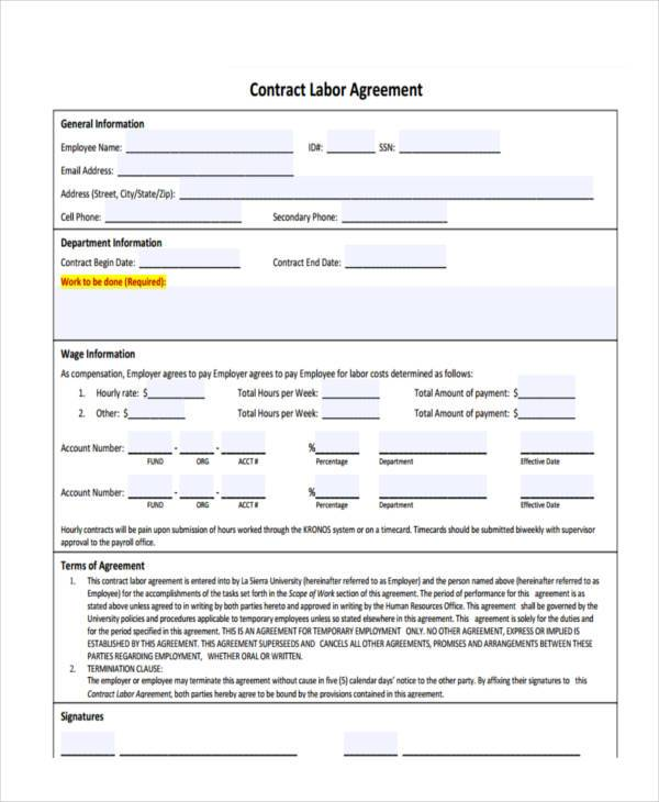 printable contract labor agreement form