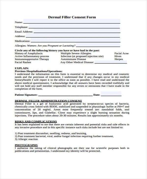 printable dermal filler consent form